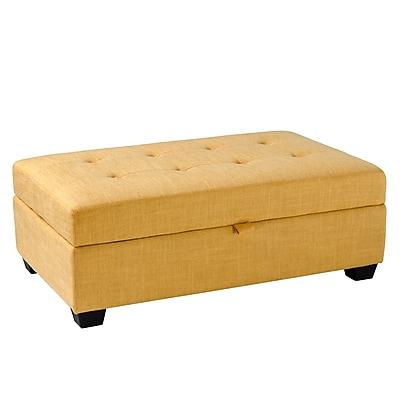 CorLiving Antonio Fabric Storage Ottoman, Yellow (LAD-184-O)