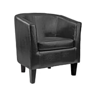 CorLiving Antonio Bonded Leather Tub Chair, Black (LAD-709-C)