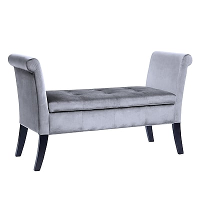 CorLiving Antonio Velvet Storage Bench with Scrolled Arms, Silver Grey (LAD-531-O)