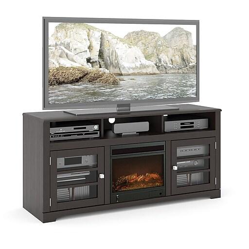 "Sonax West Lake Wood Veneer Fireplace TV Bench for up to 68"" TVs, Mocha Black (TWB-206-F)"