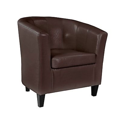 CorLiving Antonio Bonded Leather Tub Chair with Sloping Arms, Brown (LAD-725-C)