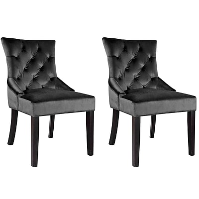 CorLiving Antonio Velvet Accent Chair, Dark Grey - Set of 2 (LAD-490-C)