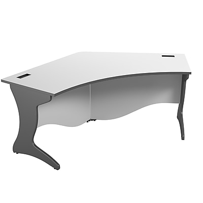 CorLiving Workspace Curved Corner Desk, Two-Tone Grey (WHP-120-D)