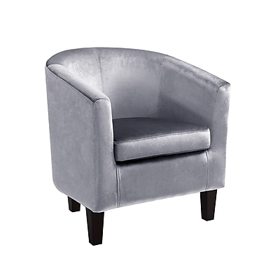 CorLiving Antonio Velvet Tub Chair, Silver Grey (LAD-738-C)