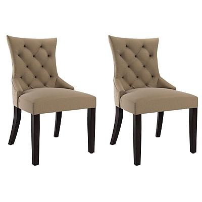 CorLiving Antonio Fabric Accent Chair, Beige - Set of 2 (LAD-460-C)