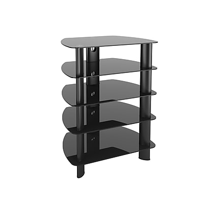 CorLiving Laguna Satin Black Glass Component Stand (TRL-801-C)