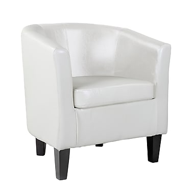 CorLiving Antonio Bonded Leather Tub Chair, White (LAD-719-C)