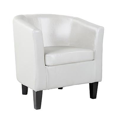 CorLiving Antonio Bonded Leather Tub Chair, White (LAD-719-C)