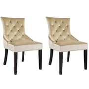 CorLiving Antonio Velvet Accent Chair, Soft Beige - set of 2 (LAD-470-C)