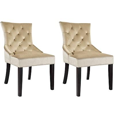 CorLiving Antonio Velvet Accent Chair, Soft Beige - set of 2 (LAD-470-C)