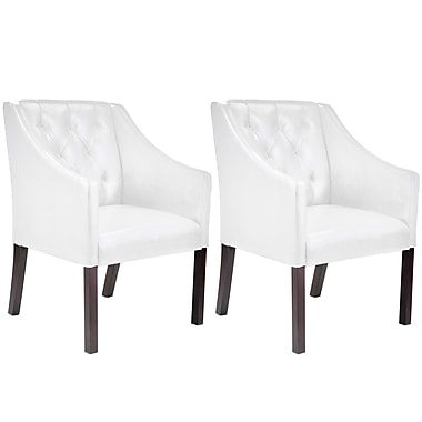 CorLiving Antonio Bonded Leather Club Chair, White - Set of 2 (LAD-618-C)