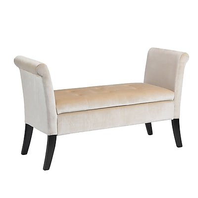 CorLiving Antonio Velvet Storage Bench with Scrolled Arms, Cream (LAD-511-O)