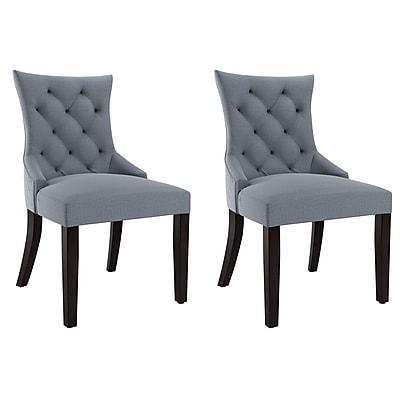 CorLiving Antonio Fabric Accent Chair, Blue Grey - Set of 2 (LAD-471-C)