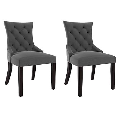 CorLiving Antonio Fabric Accent Chair, Dark Grey - set of 2 (LAD-400-C)