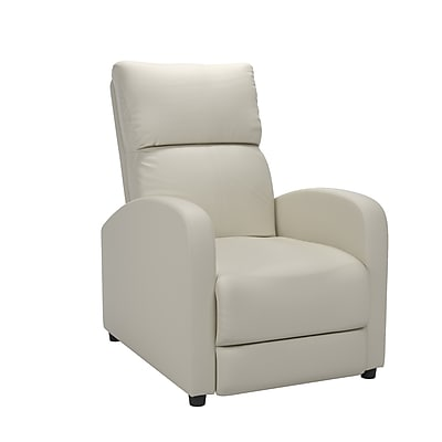CorLiving Moor Bonded Leather Recliner, White (LZY-519-R)