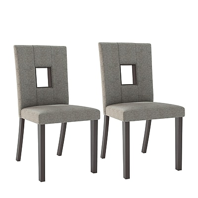 CorLiving Bistro Fabric Dining Chairs, Grey Sand - Set of 2 (DIP-421-C)