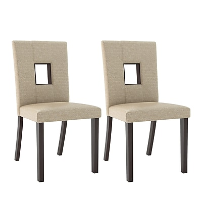 CorLiving Bistro Fabric Dining Chairs, Woven Cream - Set of 2 (DIP-461-C)
