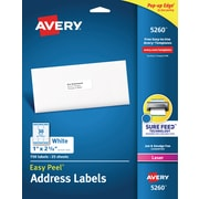 "Avery Easy Peel Laser Address Labels, 1"" x 2 5/8"", White, 30/Sheet, 25 Sheets/Pack (5260)"