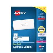 "Avery Easy Peel Laser Address Labels, 1"" x 4"", White, 20/Sheet, 100 Sheets/Pack (5161)"