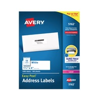 "Avery Easy Peel Laser Address Labels, 1 1/3"" x 4"", White, 14/Sheet, 100 Sheets/Pack (5162)"