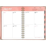 "2020 One Canoe Two for AT-A-GLANCE 5 1/2"" x 8 1/2"" Coral Swatch Hardcover Weekly/Monthly Planner (6357-200-20)"