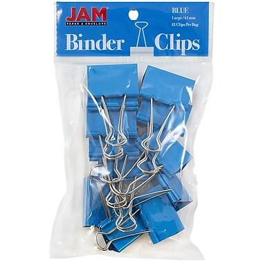JAM Paper® Binder Clips, Large, 41mm, Blue Binderclips, 12/pack (340BCbu)
