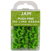 JAM Paper® Push Pins, Lime Green Pushpins, 100/pack (522416893)