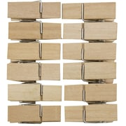 JAM Paper® Wood Clothing Pin Clips, Wide, 1 3/8 inch, Natural Wood, 12/pack (230729689)