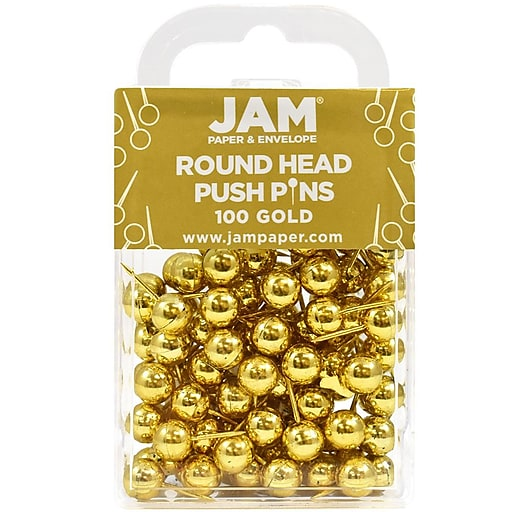 e90481a58582 JAM Paper® Map Thumb Tacks Push Pins, Gold Round Top Pushpins, 100 ...
