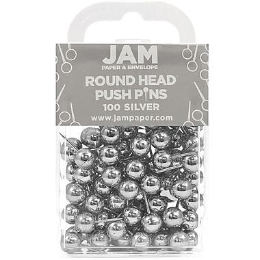 JAM Paper® Map Thumb Tacks Push Pins, Silver Round Top Pushpins, 100/pack (22432214)