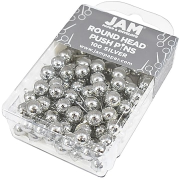 JAM Paper® Colored Map Thumb Tacks, Silver Round Head Push Pins, 100/Pack (22432214)