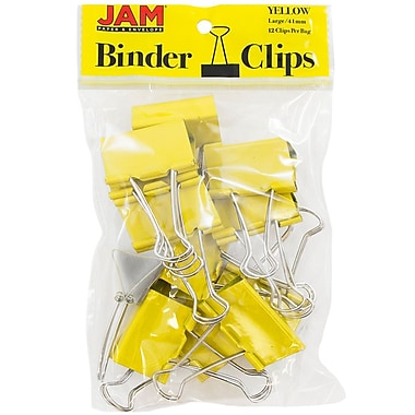 JAM Paper® Colored Binder Clips, Large, 41mm, Yellow Binderclips, 12/pack (340BCye)