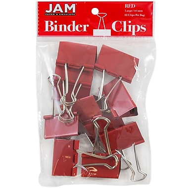 JAM Paper® Colored Binder Clips, Large, 41mm, Red Binderclips, 12/pack (340BCre)