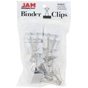 JAM Paper® Binder Clips, Large, 41mm, White Binderclips, 12/pack (340BCwh)