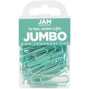 JAM Paper® Colored Jumbo Paper Clips, Large, Teal Paperclips, 75/pack (21832065)
