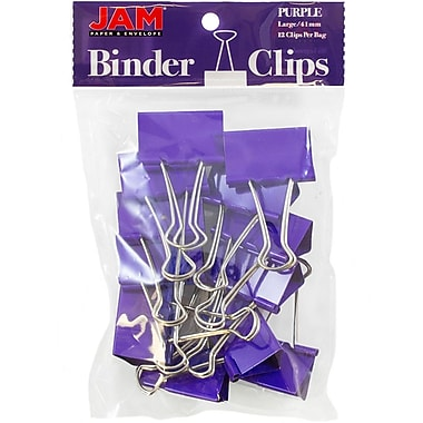 JAM Paper® Colored Binder Clips, Large, 41mm, Purple Binderclips, 12/pack (340BCpu)