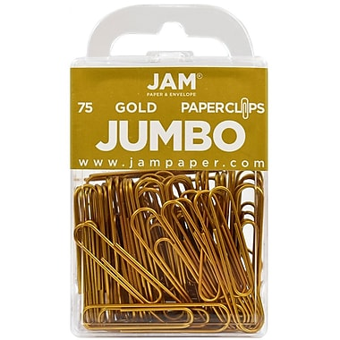 JAM Paper® Colored Jumbo Paper Clips, Large, Gold Paperclips, 75/pack (21832060)