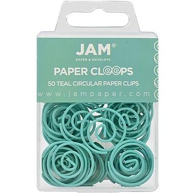 JAM Paper – Trombones colorés Papercloops circulaires, sarcelle, 50/paquet (21832066)