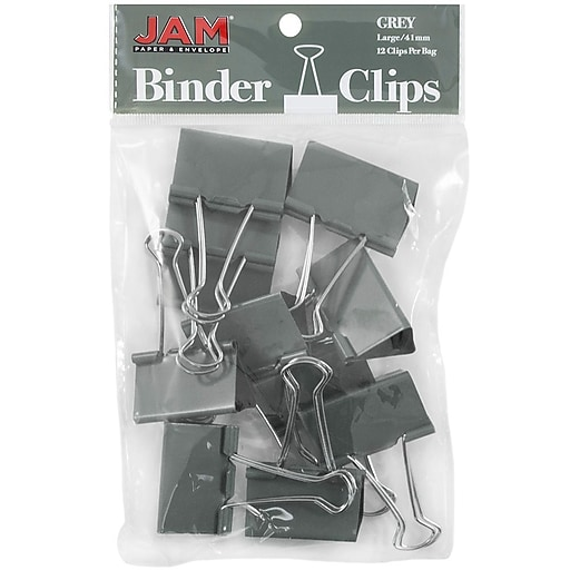 JAM Paper® Colorful Binder Clips, Large, 1 1/2 Inch (41mm), Grey Binderclips, 12/Pack (340BCgy)