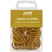 JAM Paper® Circular Colored Papercloops, Gold Round Paper Clips, 50/pack (21832062)