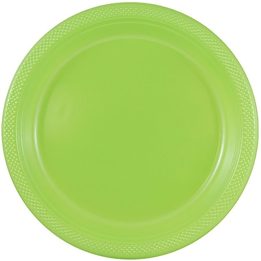 JAM Paper® Round Plastic Plates, Small, 7 inch, Lime Green, 200/box (7255320684b)