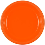 JAM Paper® Round Plastic Plates, Small, 7 inch, Orange, 200/box (7255320686b)