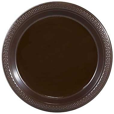JAM Paper® Round Plastic Plates, Medium, 9 inch, Chocolate Brown, 200/box (9255320677b)