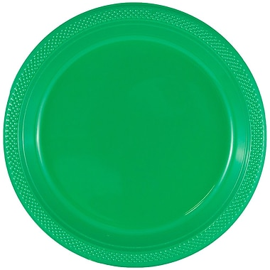 JAM Paper® Round Plastic Plates, Small, 7 inch, Green, 200/box (255328195b)