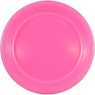 JAM Paper® Round Plastic Plates, Small, 7 inch, Fuchsia Pink, 200/box (2255320680b)