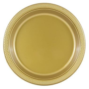 JAM Paper® Round Plastic Plates, Large, 10 inch, Gold, 20/pack (10255LPgl)