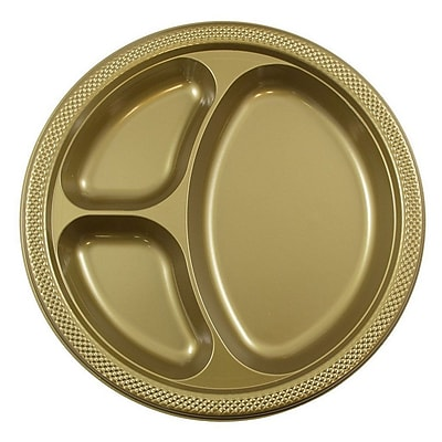 JAM Paper® Round Plastic Plates with Divided Compartments, Large, 10 inch, Gold, 20/pack (10255CPgl)