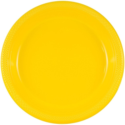 JAM Paper® Round Plastic Plates, Medium, 9 inch, Yellow, 200/box (255321941b)
