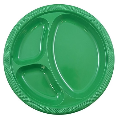 JAM Paper® Round Plastic Plates with Divided Compartments, Large, 10 inch, Green, 20/pack (10255CPgr)