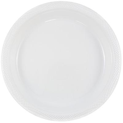JAM Paper® Round Plastic Plates, Medium, 9 inch, White, 200/box (9255320691b)